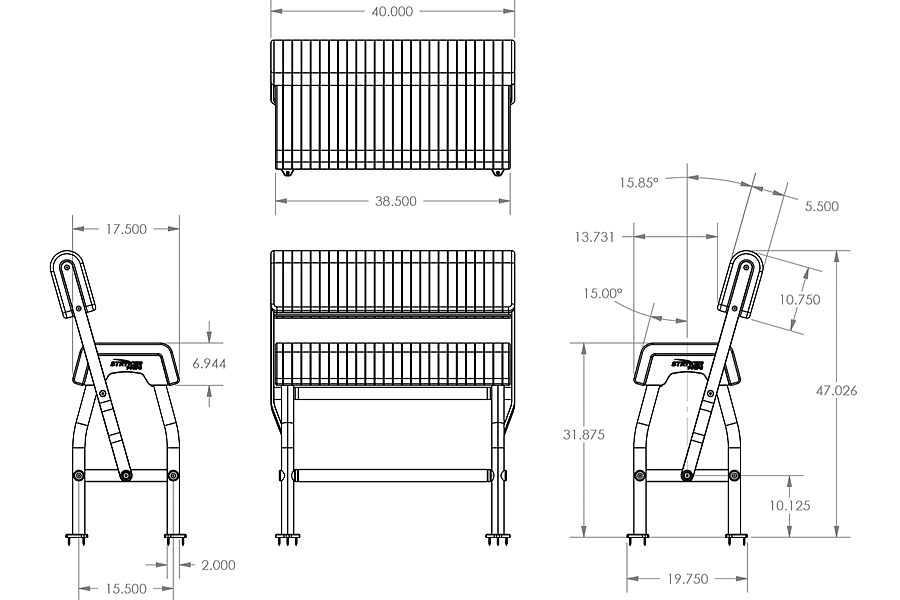Boat Seat Dimensions : Swing back leaning post seat for center console boats
